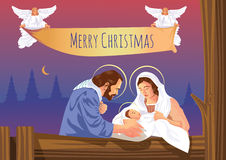 Сцена рождества рождества христианская с младенцем Иисусом и ангелами Стоковая Фотография