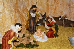 Сцена рождества, святое рождение Стоковое фото RF