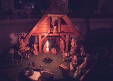 Сцена рождества с деревянными диаграммами ретро годом сбора винограда Стоковое фото RF