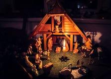 Сцена рождества с деревянными диаграммами стоковые изображения