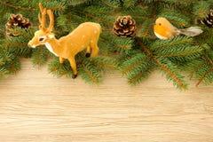 Сцена рождества с северным оленем, птицей Робина, конусами сосны и елью Tr Стоковое фото RF