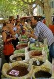 Сцена рынка, Провансаль, Франция Стоковые Изображения RF