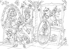 Сцена сказки книжка-раскраски бесплатная иллюстрация
