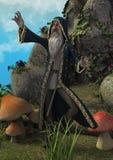 Сцена сказки с волшебником в луге, полный травы, гриба и огромного трона сделанного в камне стоковое изображение rf