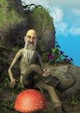 Сцена сказки с пожилым волшебником сидя в каменном троне окружает грибами стоковые изображения rf