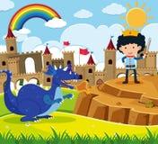 Сцена сказки с принцем и голубым драконом бесплатная иллюстрация