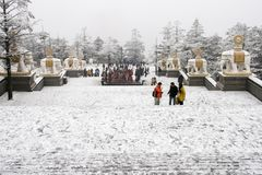 Сцена снега в goldentop, Mount Emei, фарфоре Стоковое Изображение RF