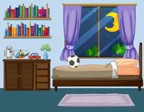 Сцена спальни с деревянной мебелью Стоковые Изображения RF