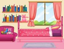 Сцена спальни с розовой кроватью Стоковые Фотографии RF