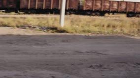 Сцена сцены страшной молодой женщины сидя в фургоне, выходит автомобиля и видит изображение ужаса приходить 2 зомби сток-видео