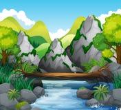 Сцена с горами и рекой Стоковые Изображения