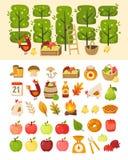 Сцена с деревьями сада яблока и элементами перед ей Добавочные значки различных деталей, еды и контейнеров темы яблока иллюстрация вектора