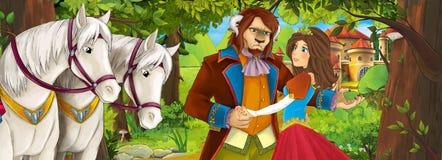 Сцена с милыми королевскими очаровательными парами в лесе около замка - красивая девушка шаржа manga Стоковая Фотография