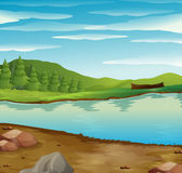 Сцена с подачей реки через лес иллюстрация штока