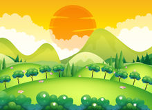 Сцена с полем и деревьями Стоковые Фото