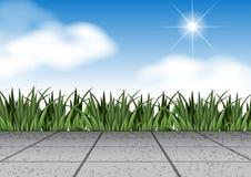Сцена с травой и полом иллюстрация вектора