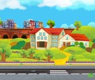 Сцена с школьным зданием около улицы - красивый день шаржа Стоковые Изображения RF