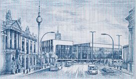 Сцена улицы в восточном Берлине на востоке - немецкие 100 отметят bankn 1975 Стоковое фото RF