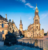 Сцена утра в histoirical центре городка Дрездена старого Стоковое Фото