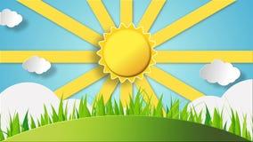 Сцена утра ландшафта стиля шаржа с поднимая, сияющее солнцем и плавать заволакивает видеоматериал