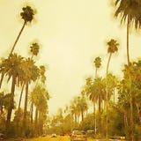 Сцена улицы акварели Беверли-Хиллз Лос-Анджелеса стилизованная иллюстрация штока