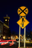 Сцена улицы на заходе солнца в Chatham NY Стоковое Изображение