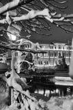 Сцена уличного фонаря и снега Стоковое Изображение RF