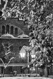 Сцена уличного фонаря и снега Стоковые Фотографии RF