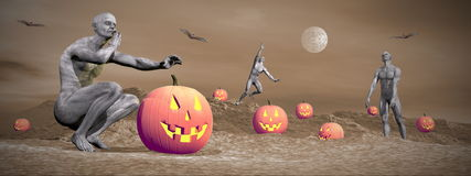 Сцена хеллоуина - 3D представляют Стоковые Изображения