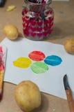 Сцена художественного произведения печатания картошки стоковые фото