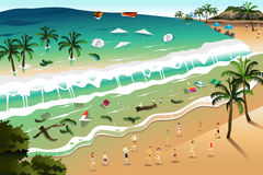 Сцена цунами иллюстрация штока