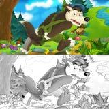 Сцена шаржа волка бежать прочь держа задыхается - с страницей расцветки Стоковые Фотографии RF