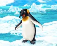 Сцена шаржа - ледовитые животные - пингвины Стоковое фото RF