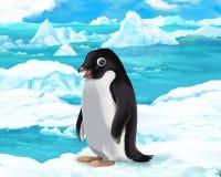 Сцена шаржа - ледовитые животные - пингвин иллюстрация штока