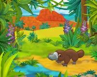 Сцена шаржа - одичалые животные Америки - карикатура - platypus иллюстрация вектора