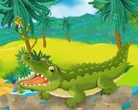 Сцена шаржа - одичалые животные Африки - крокодил Стоковое Изображение RF