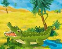 Сцена шаржа - одичалые животные Африки - крокодил Стоковые Изображения RF
