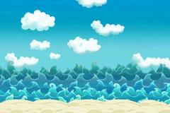 Сцена шаржа пляжа около моря или океана иллюстрация штока