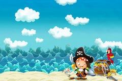 Сцена шаржа пляжа около моря или океана бесплатная иллюстрация