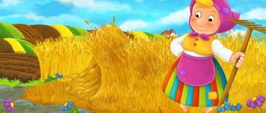 Сцена шаржа сельская при женщина фермера отдыхая во время работы на поле Стоковое фото RF