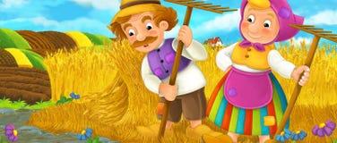 Сцена шаржа сельская с фермерами Стоковое Изображение