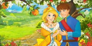 Сцена шаржа с милыми королевскими очаровательными парами на луге Стоковые Фотографии RF