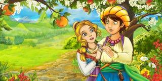 Сцена шаржа с милыми королевскими очаровательными парами на луге Стоковое Изображение