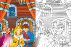 Сцена шаржа с принцессой или ферзем - для некоторой сказки - красивая девушка manga замка и экипажа на заднем плане красивая Стоковые Изображения RF