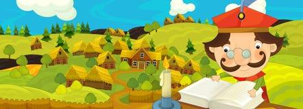 Сцена шаржа с фермером около деревни фермы Стоковое Фото