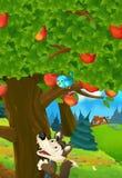 Сцена шаржа яблони и sneaky волка ниже бесплатная иллюстрация