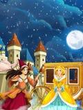 Сцена шаржа для различных сказок - маленькая девочка красиво одела идти к некоторому шарику Стоковое Фото