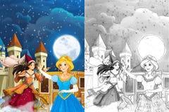 Сцена для различных сказок - маленькая девочка шаржа красиво одел идти к некоторому шарику - красивая девушка manga Стоковое фото RF