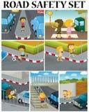 Сцены детей и обеспечения безопасности на дорогах бесплатная иллюстрация