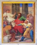 Сцены от жизни St Paul: Ослеплять ложного пророка стоковые изображения